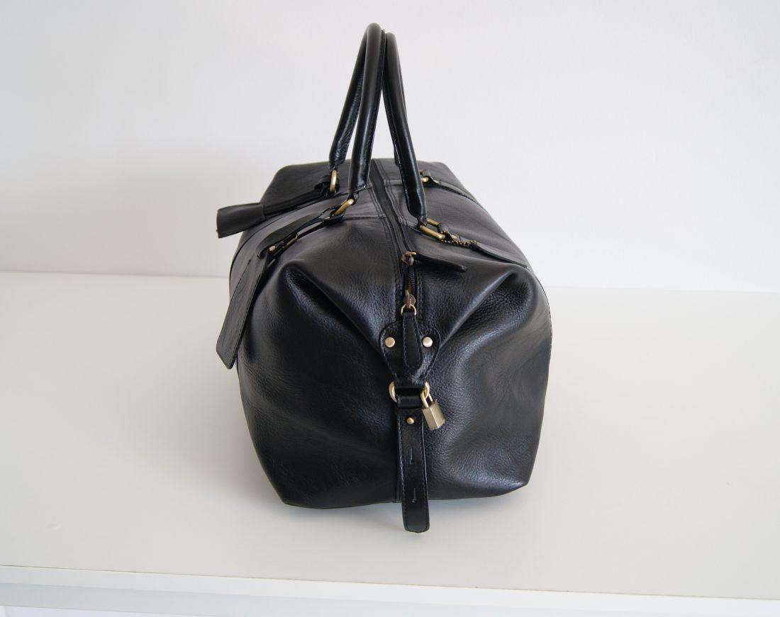 BUFALO BBJ01 SMALL BLACK дорожная кожаная сумка