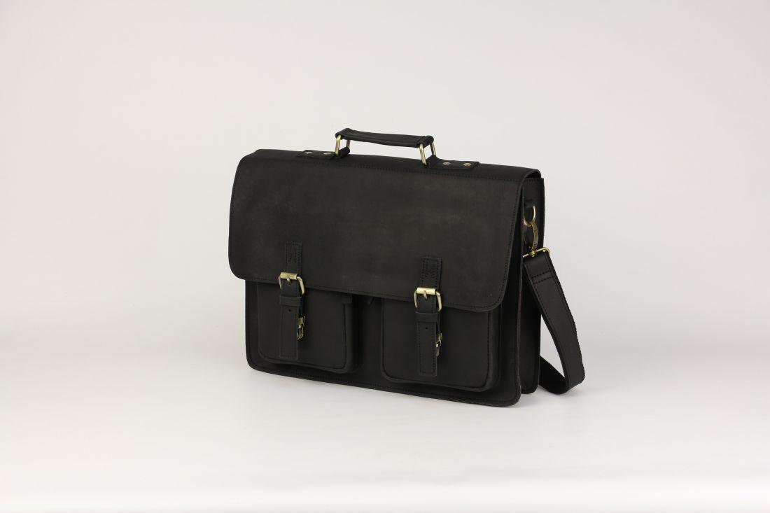 BUFALO LBN-05 BLACK деловой кожаный портфель